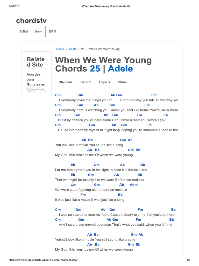 When We Were Young Chords Adele 15   PDF