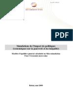 Simulations de l'Impact de Politiques Économiques Sur La Pauvreté Et Les Inégalités- Modèle d'Équilibre Général Calculable en Microsimulation Pour l'Économie Marocaine