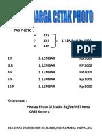 Daftar Harga Cetak Photo