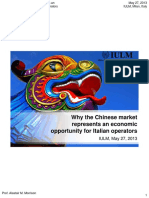 Why the Chinese Market Represents and Economic Opportunity for Italian Operators IULM-May-27-2013-Morrison-PPT