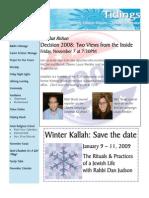 November 2008 Tidings Newsletter, Temple Ohabei Shalom