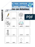 Ficha de Ejercicios Con Antónimos Para Primero de Primaria