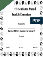 perfect attendance award - february