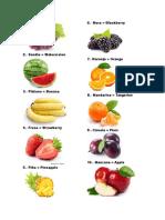 Frutas y Verduras Ingles Español