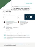 La Certificacion Organica Alternativa Para La Comercializacion Del Oregano Lippia Spp