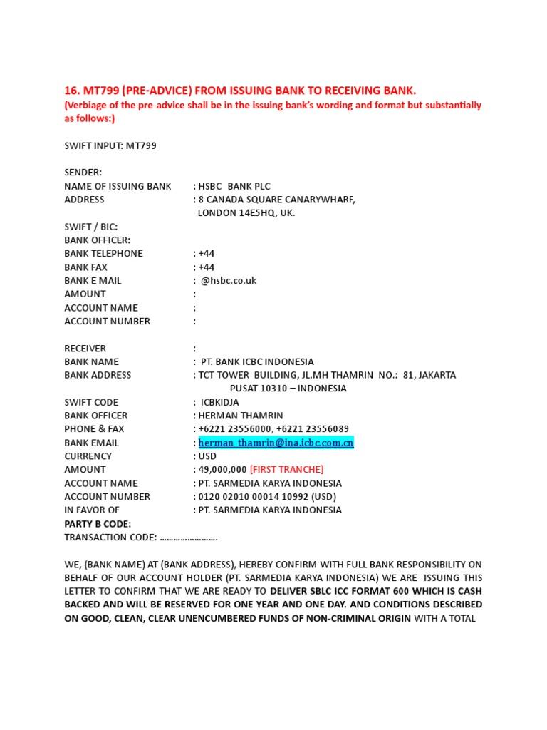 Verbiage doc | Letter Of Credit | Banks