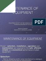 Maintenance of Equipment