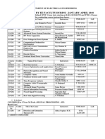 List of Courses Offered by Ee for Jan-April 2018time Table