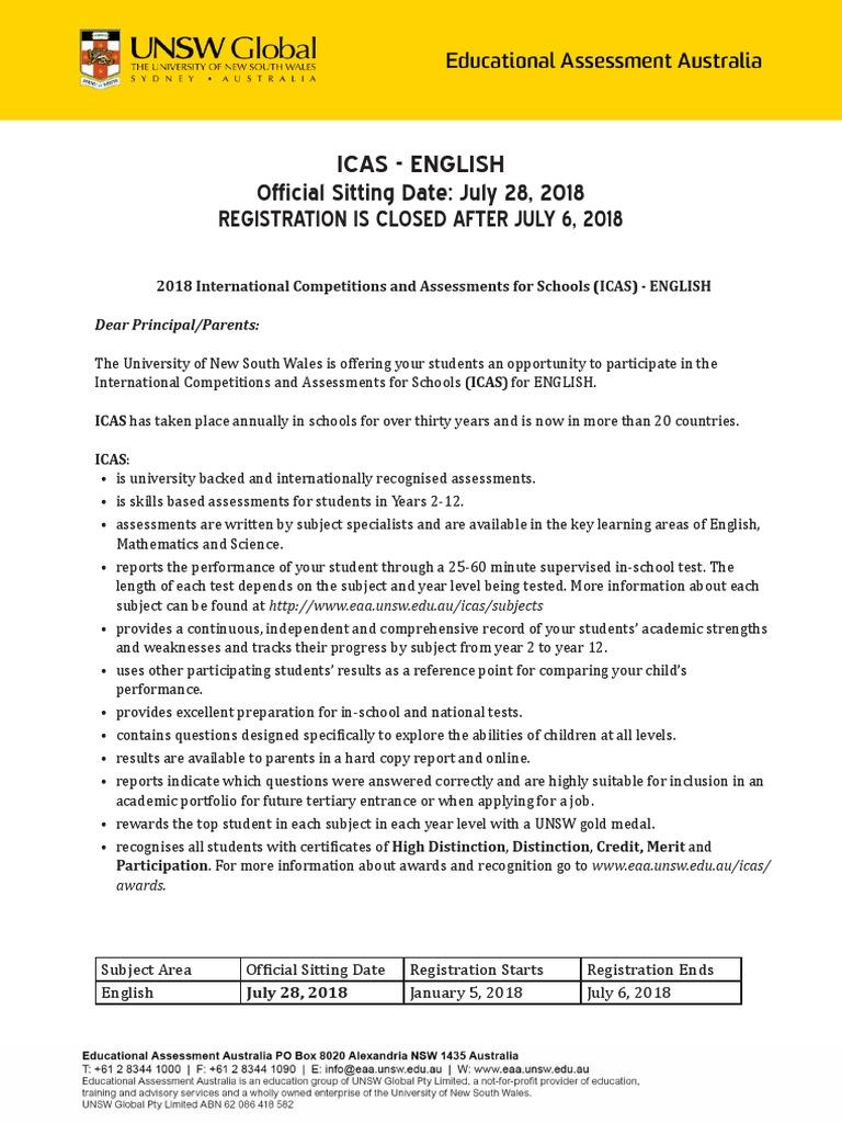 2018 Icas Invitation ENGLISH2 | Educational Assessment | Change