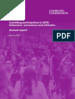 Gambling Participation in 2016 Behaviour Awareness and Attitudes