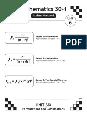 Math30-1 Workbook Unit6 | Permutation | Glycine