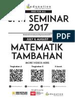 SPM Seminar 2017 Part 1 - Matematik Tambahan Notes