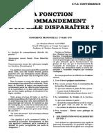 Gaultier, Patrice - La fonction de commandement doit-elle disparaître ? (1974)