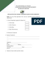 Online Content Application Form