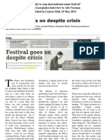 Festival Goes on Despite Crisis - Yvonne Georgiadou Interview to Alix Norman