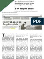 Festival Goes on Despite Crisis - Yvonne Georgiadou Interview to Alix Norman