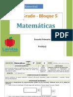 Plan 3er Grado - Bloque 5 Matemáticas