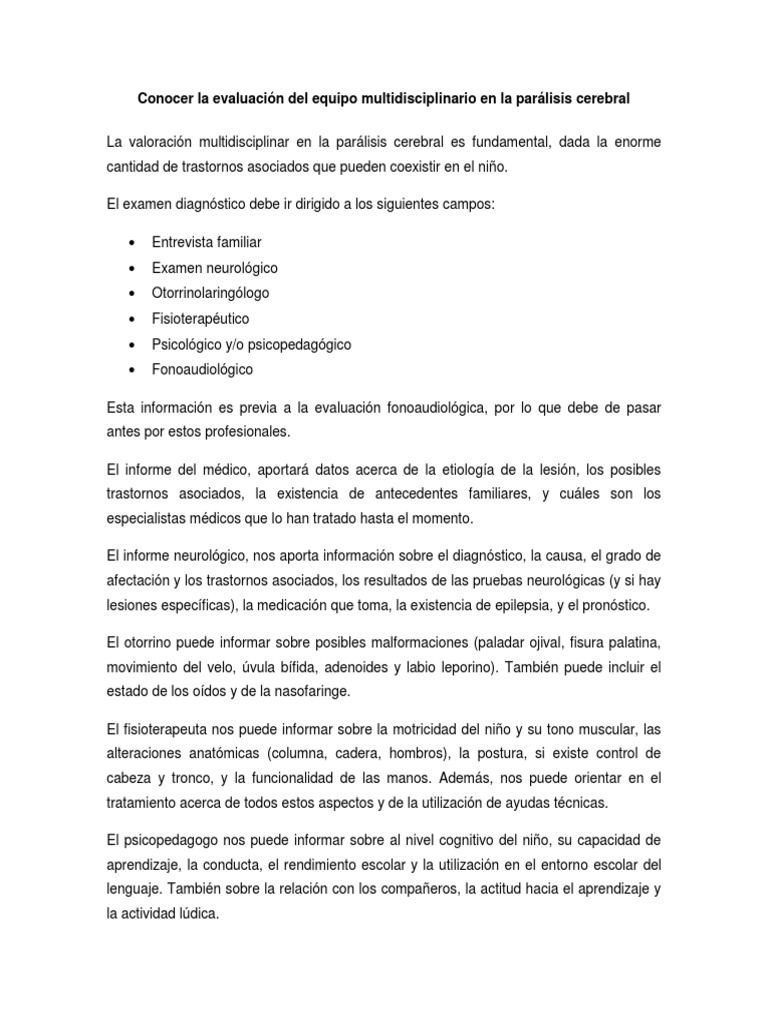 Conocer La Evaluación Del Equipo Multidisciplinario en La Parálisis ...