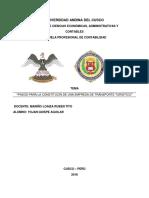 Pasos Para La Constitución de Una Empresa de Transporte Turístico