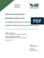 Seguí - Valoración de Empresas_ Decathlon España s.a.u. Una Estimación Del Valor de Mercado Media...