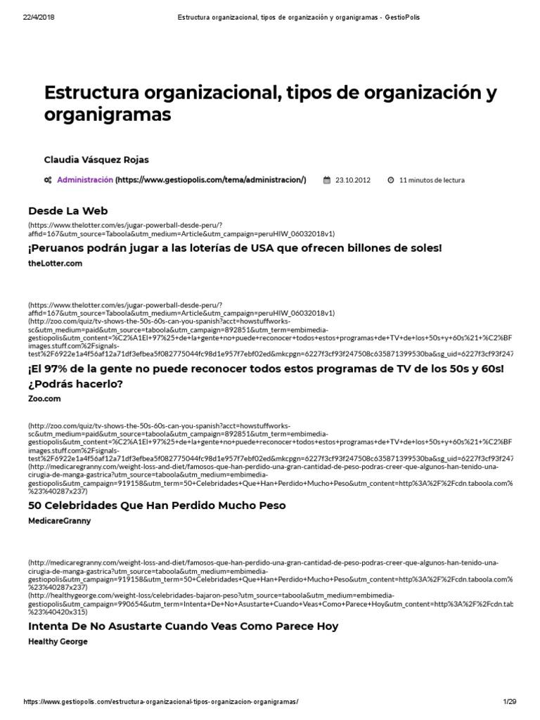 Estructura Organizacional Tipos De Organización Y Organigramas