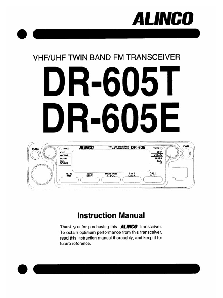 alinco dr 605 instruction manual
