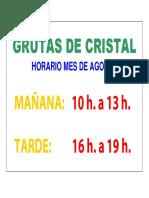 Horario Grutas Agosto