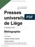 Le Philosophe Et La Cité - Bibliographie - Presses Universitaires de Liège