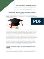 Diferencias Entre Una Universidad y Un Instituto Terciario