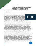 La Prévention Des Risques Technologiques Et Professionnels en France Et en Grande-Bretagne Des Années 1970 à Nos Jours