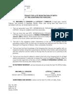 Affidavit of Late Registration of Birth XXX