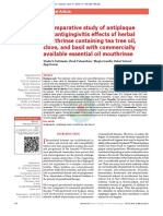 A Comparative Study of Antiplaque and Antigingivitis Effects of Herbal Mouthrinse Containing Tea Tree Oil, Clove, And Basil With Commercially Available Essential Oil Mouthrinse
