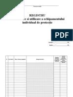 Registru de Eliberare a Echipamentului de Protectie