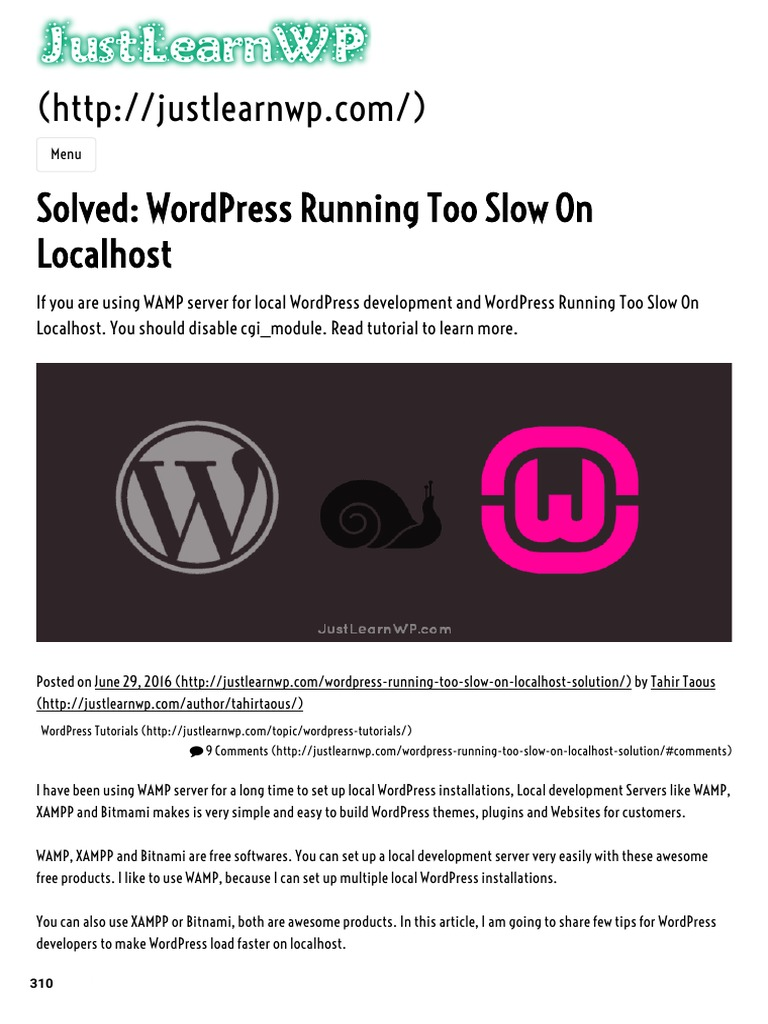 Solved: Wordpress Running Too Slow On Localhost