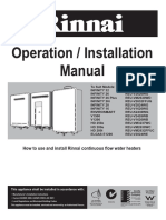 RINNAI Infinity Oporation Manual