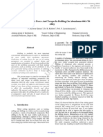 Prediction Of Thrust Force and Torque in Drilling on Aluminium Alloy