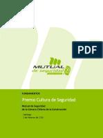 Fundamentos Premio Cultura de Seguridad Mutual CChC