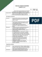 literary analysis checklist  11 and 12