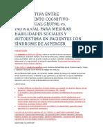 COMPARATIVA TRATAMIENTO INDIVIDUAL VS. GRUPAL PARA HABILIDADES SOCIALES EN ASPERGER