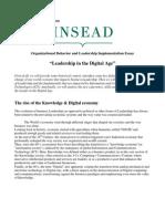 Organizational Behavior – Leadership in the Digital Age