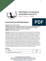Saturday Bird Walk April 14, 2018 at Rocky River Nature Center Report