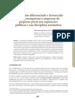 Tratamento diferenciado e favorecido às microempresas e empresas de pequeno porte nas aquisições públicas e sua disciplina normativa