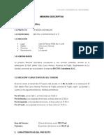 Memoria Descriptiva Mz. a, Lt. 03