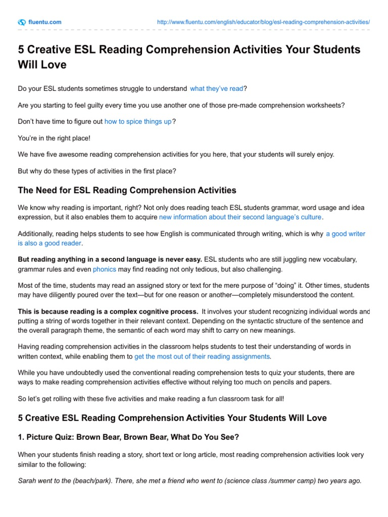 - 5 Creative Esl Reading Comprehension Activities Your Students Will