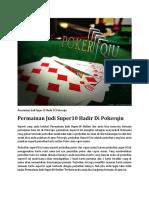 Permainan Judi Super10 Hadir Di Pokerqiu