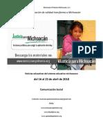 Síntesis Educativa Semanal de Michoacán al 23 de abril de 2018