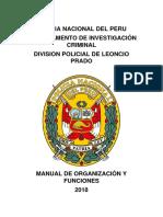 Manual de Organización y funciones de un departamento de investigación criminal