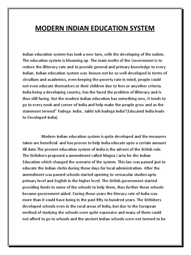Science Essay Example Modern Indian Education System Secondary Primary Science Topics For Essays also Purpose Of Thesis Statement In An Essay Essay On Modern Education System In India  Mistyhamel Health Essay Sample