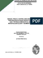 Manual Para El Control Geologico de La Perforacion de Pozos