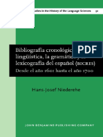 Bibliografia Cronologica de La Linguistica La Grammatica y La Lexicografia Del Espanol Bicres II 1601 1700 Studies in the History of the Language Sciences